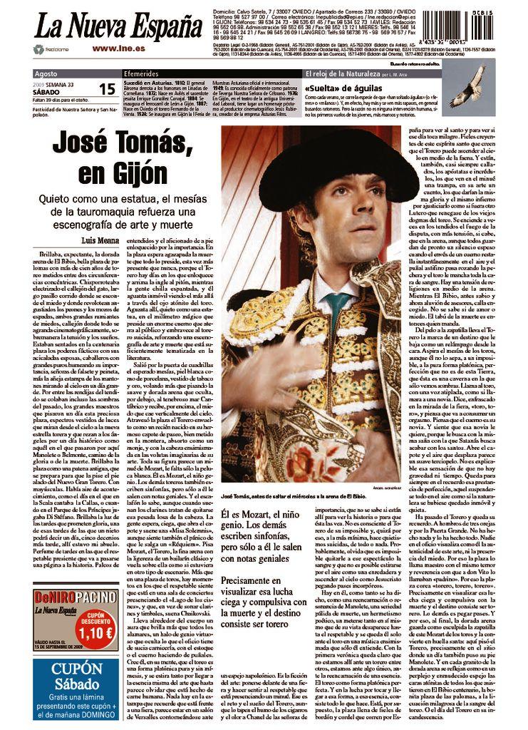 thumbnail of José Tomás en Gijón. La Nueva España. 15-8-2009